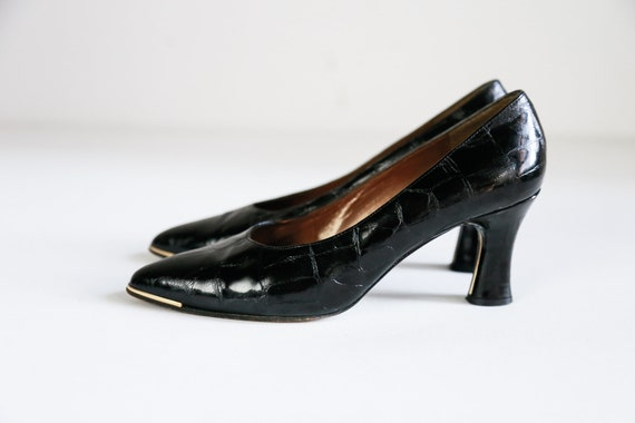 Stuart Wetizman Black Croc Print Sexy Heels  Vinta