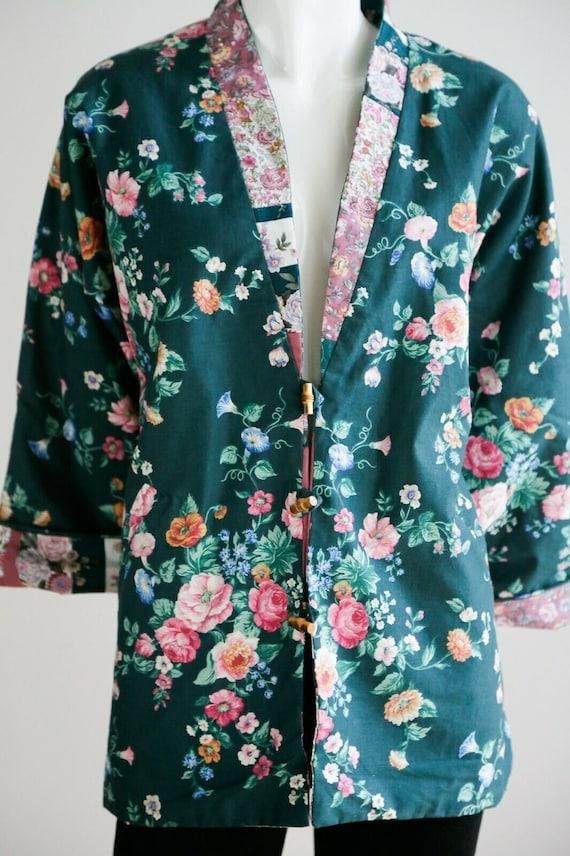 Vintage Cottagecore Patchwork Pink Teal Floral Re… - image 4