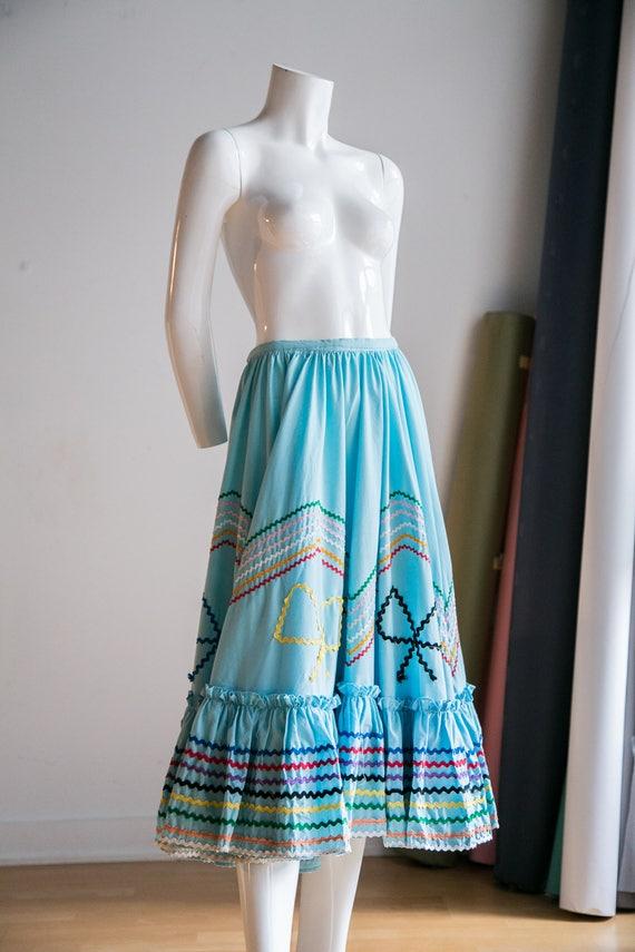 Mexican Circle Skirt | Folk Dancing Skirt  | Blue… - image 6