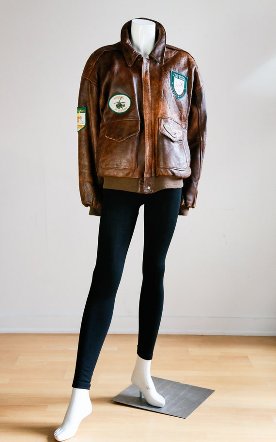 Vintage Aviator Leather Bomber Jacket  w Patches |