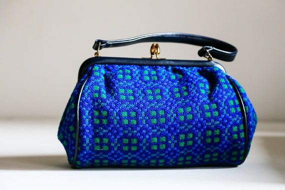 Wool Tapestry Handbag | Blue Green 50s Welsh Tapes