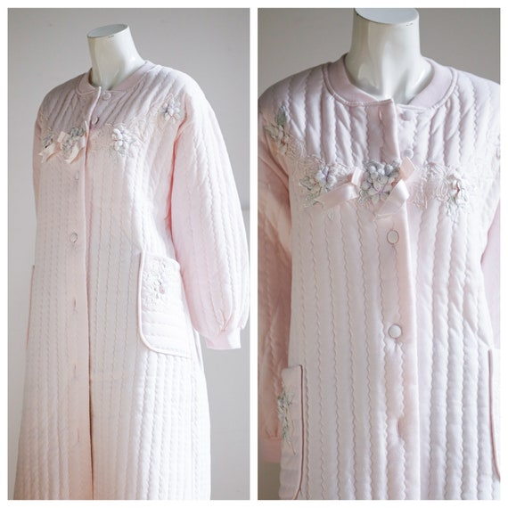 Baby Pink Quilted Button Down House Coat | Pastel