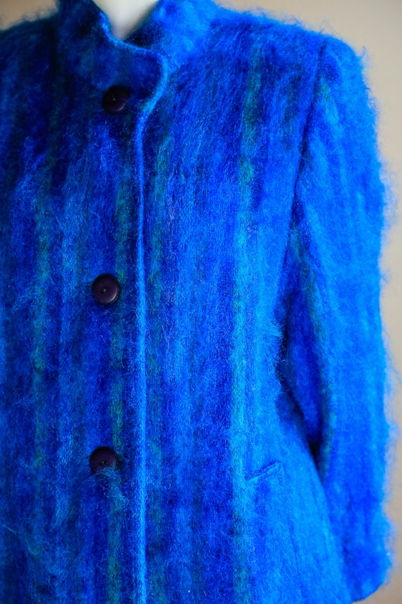 Blue Mohair Midi Coat | Wool Mohair Striped Coat … - image 5