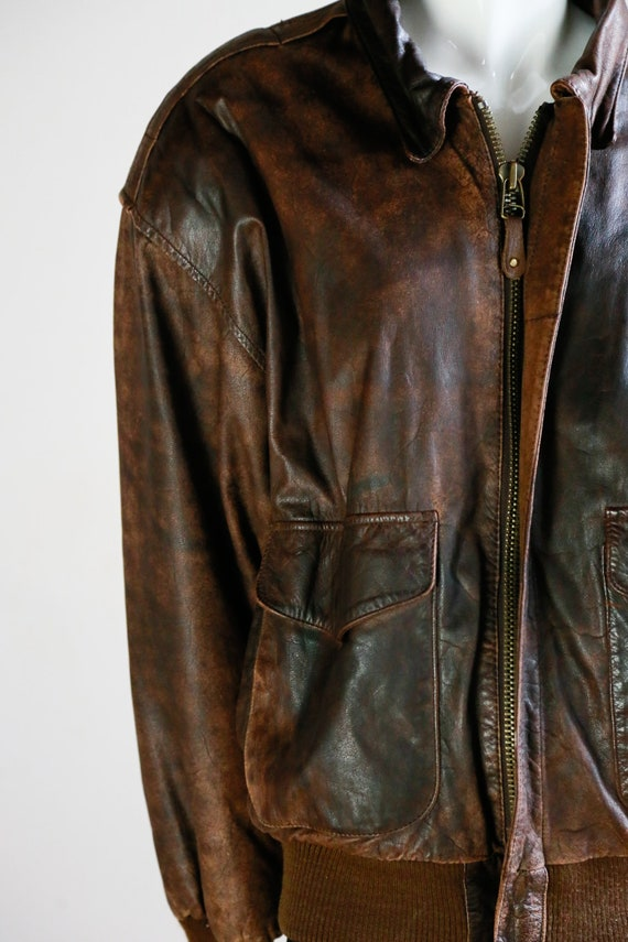 Leather Aviator Flight Jacket | Vintage Pilot Jac… - image 5