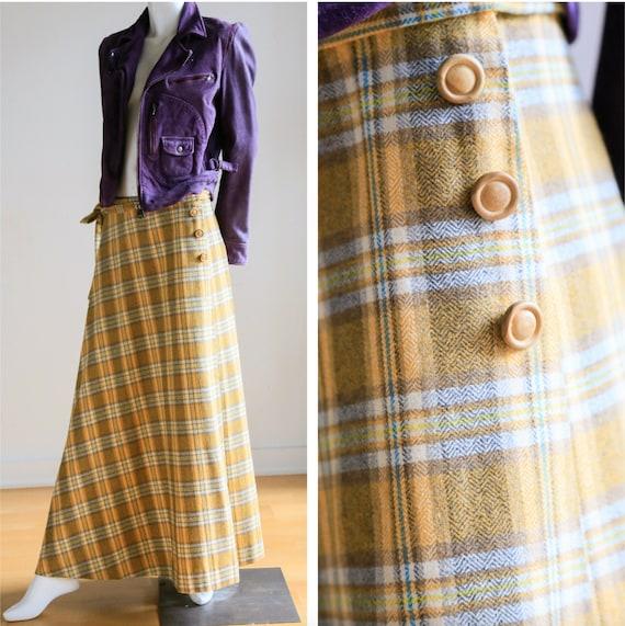 Plaid Wool A-line Maxi Wrap Skir   Plaid Boho Max… - image 1