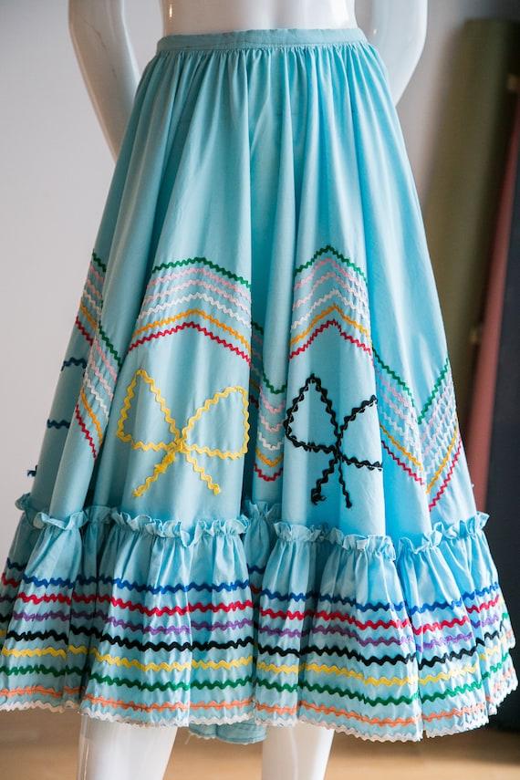 Mexican Circle Skirt | Folk Dancing Skirt  | Blue… - image 3
