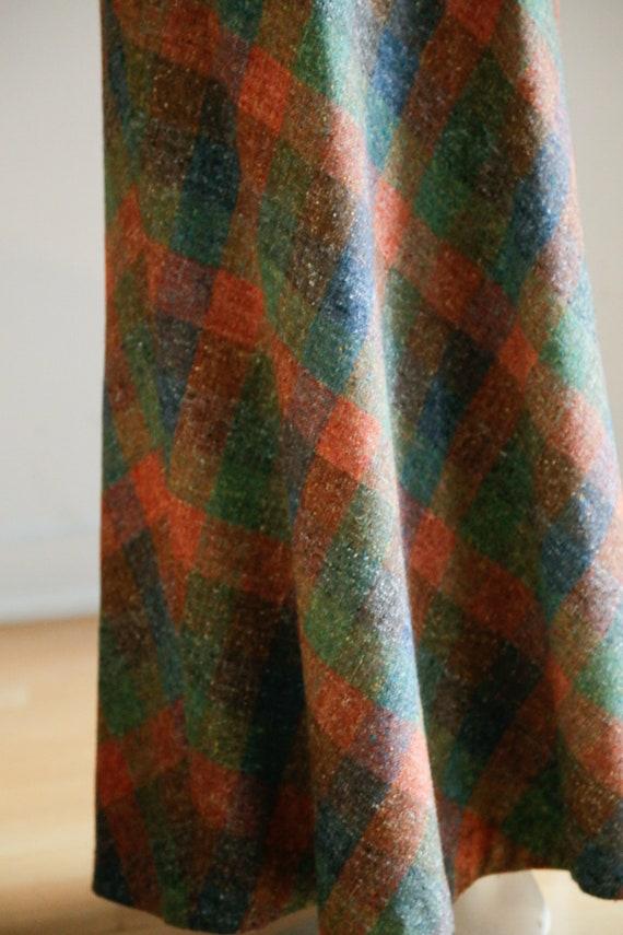 Vintage Large Scale  Plaid Wool A-line Maxi Skirt… - image 7