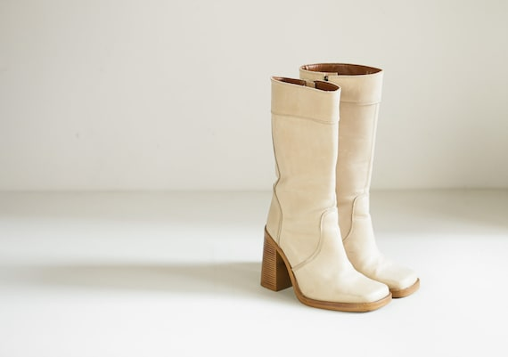 Vintage Square Toe Light Beige Tall Leather Boots