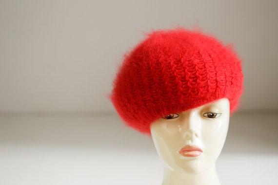 Bright Red Wool Angora Winter Beret | Holiday Fes… - image 4