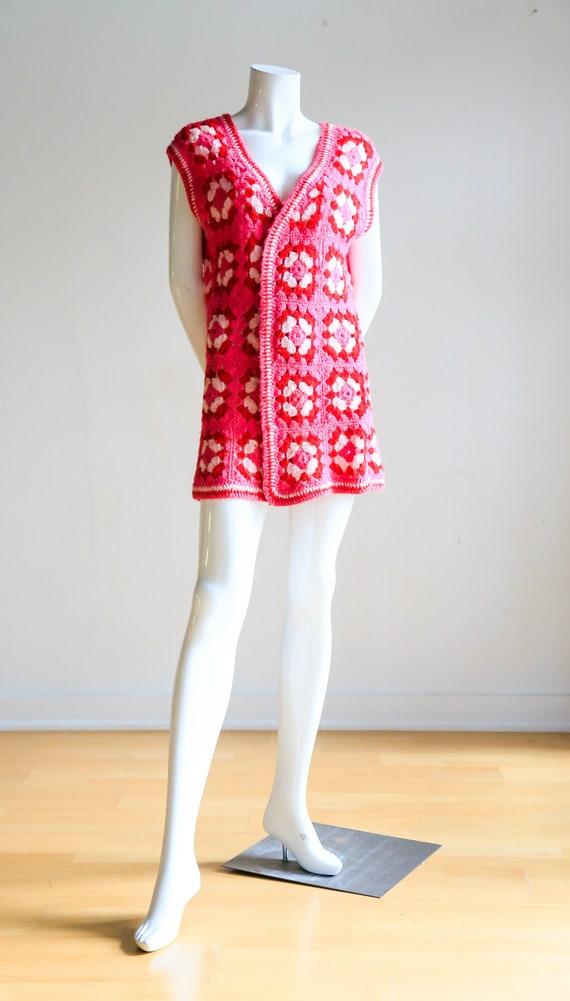 Pink Granny Squares Vest | Vintage Boho Vest | Pin