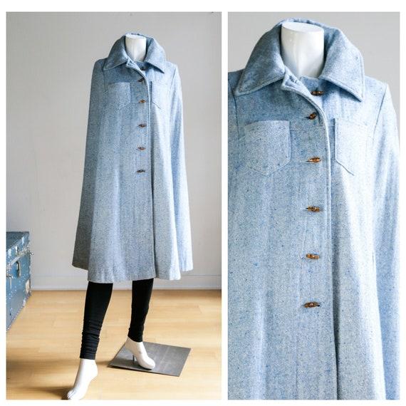 Blue Tweed Wool Cape | Vintage Wool Cape | Baby Bl