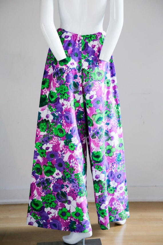 70s Wild Flower Power Purple and Bright Green Wid… - image 7