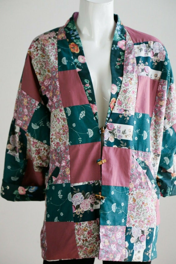 Vintage Cottagecore Patchwork Pink Teal Floral Re… - image 6