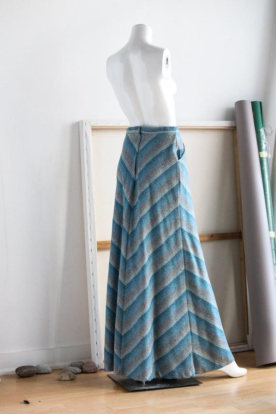 Blue Grey Chevron Print High Waist Maxi Skirt | Wo