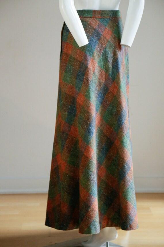 Vintage Large Scale  Plaid Wool A-line Maxi Skirt… - image 6