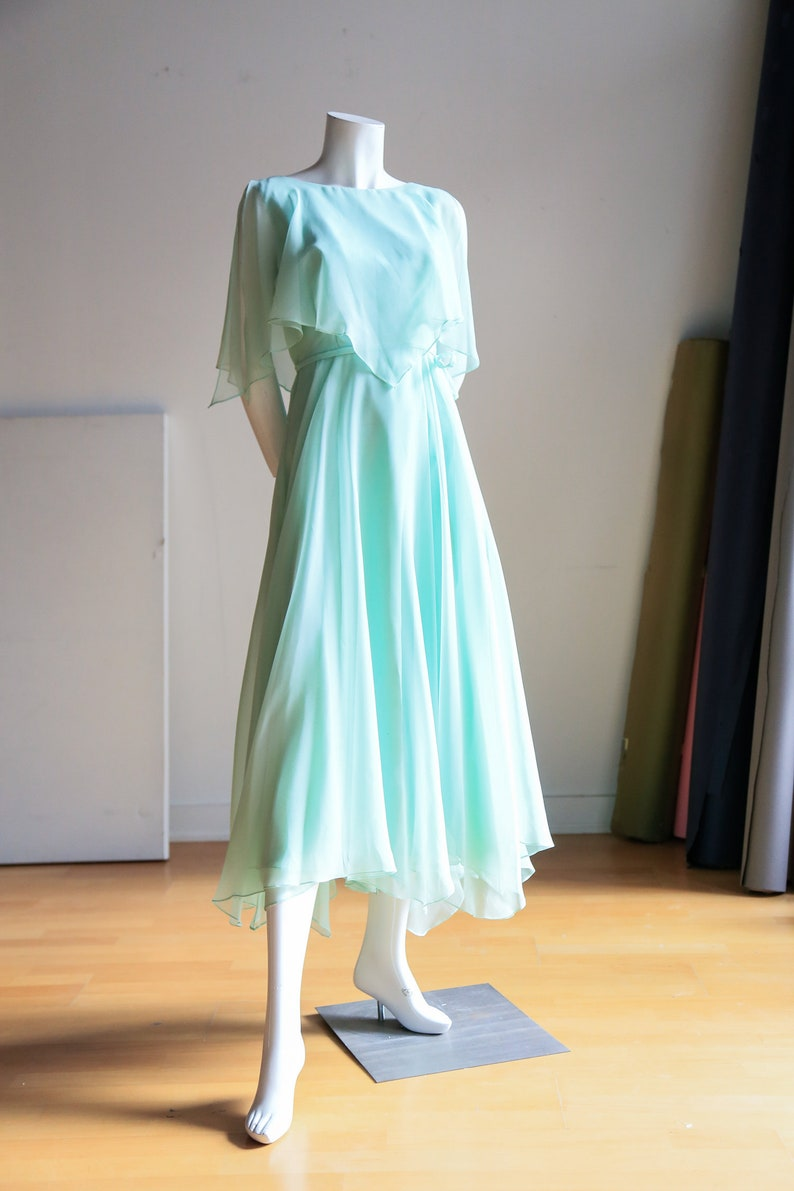 86c4bd2d125e Turquoise Chiffon Maxi Dress Asymmetrical Hem Summer Dress | Etsy