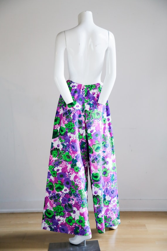 70s Wild Flower Power Purple and Bright Green Wid… - image 6