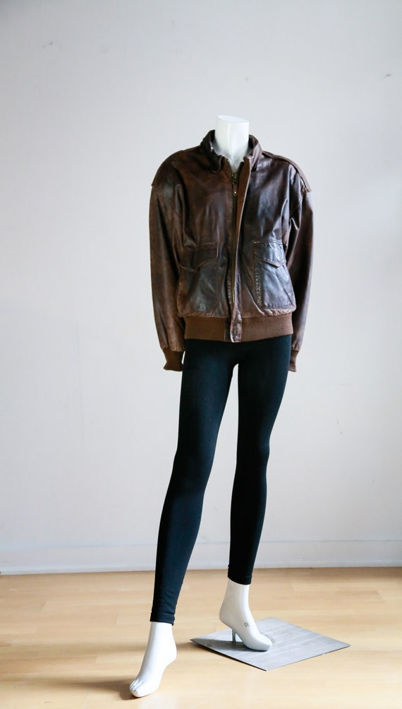 Leather Aviator Flight Jacket | Vintage Pilot Jac… - image 1