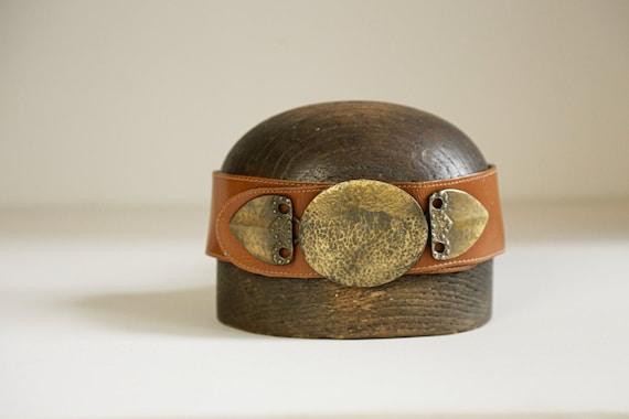 80s Wide Leather Belt with Massive Primitive Gold… - image 1