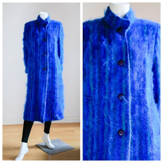 Blue Mohair Midi Coat | Wool Mohair Striped Coat … - image 1
