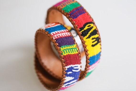 Handmade  Colourful Embroidered Boho Leather Belt… - image 1