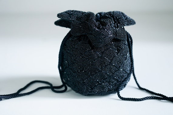 Vintage  Black Beaded Drawstring Purse | Classic B