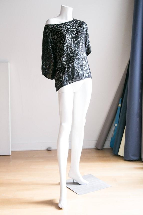 Black Sequin Beaded Party Top | Beaded Flapper Top