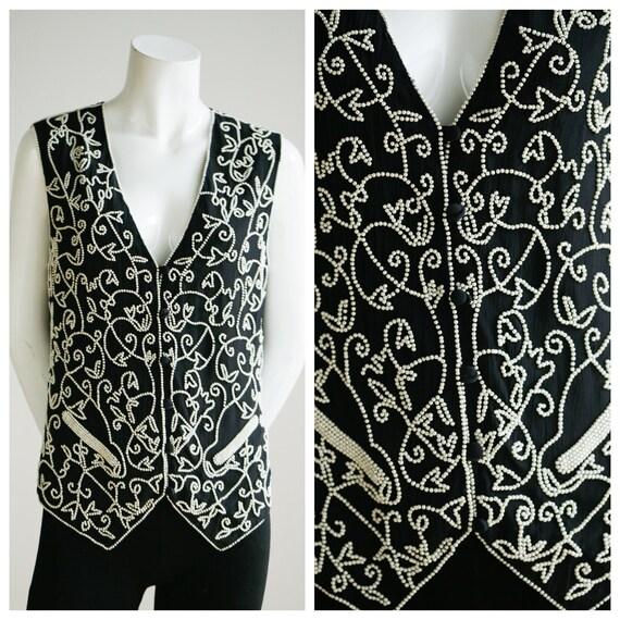 Vintage Black White Beaded Vest | Pearl Like Beadi