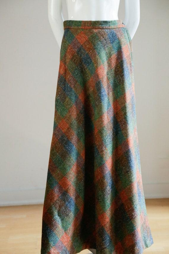 Vintage Large Scale  Plaid Wool A-line Maxi Skirt… - image 3