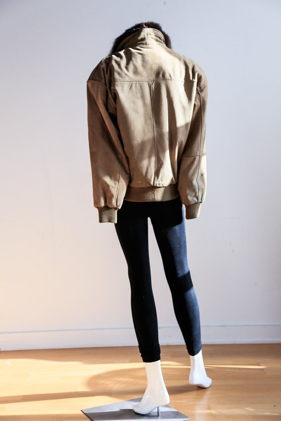 Fur Lined Leather Flight Jacket | Light Beige Bro… - image 5