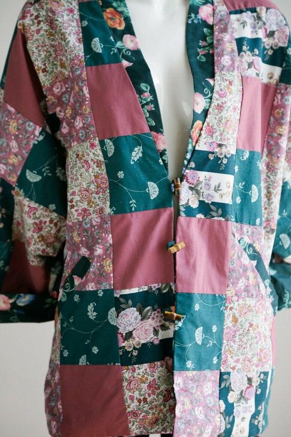 Vintage Cottagecore Patchwork Pink Teal Floral Re… - image 8