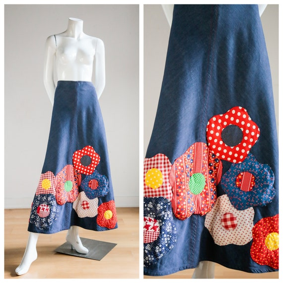 70s A-line Denim Maxi Skirt |  Quilted Floral Embe