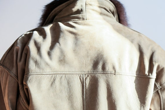 Fur Lined Leather Flight Jacket | Light Beige Bro… - image 6