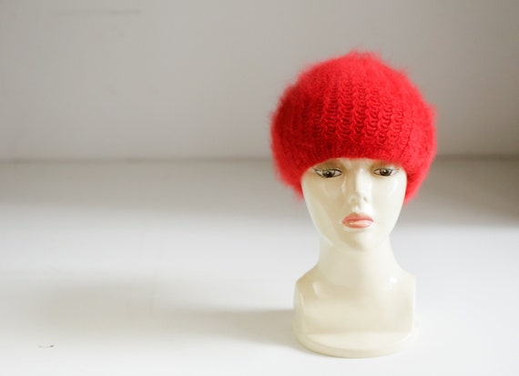 Bright Red Wool Angora Winter Beret | Holiday Fest