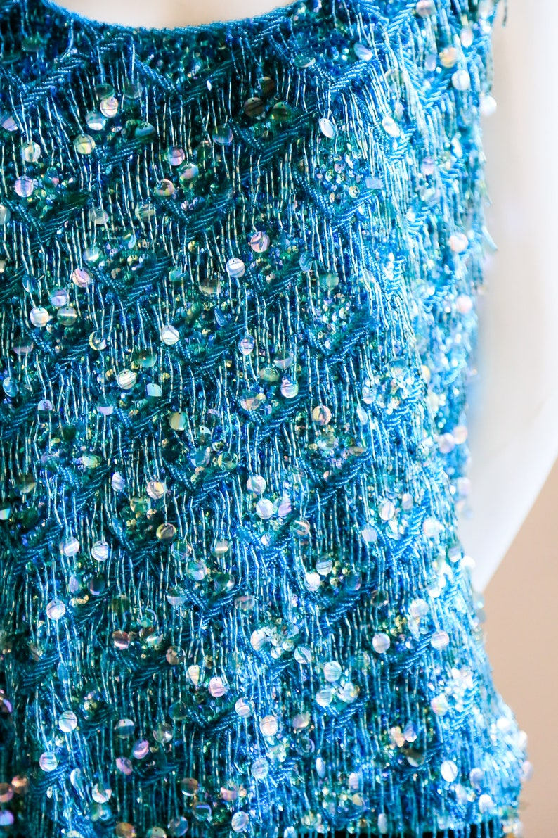 Unique Sequin Top Blue Sleeveless Sequin Top Mermaid Sequin Top Flapper Top Aqua Blue Sequin and Bead Knit Embellished Tank Top