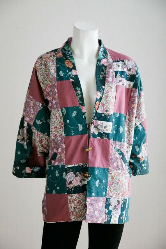 Vintage Cottagecore Patchwork Pink Teal Floral Re… - image 5