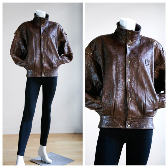 90s PUMA Brown Leather Bomber Jacket | Vintage Pum