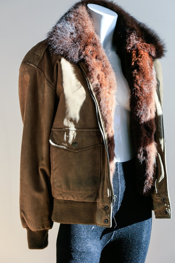 Fur Lined Leather Flight Jacket | Light Beige Bro… - image 3