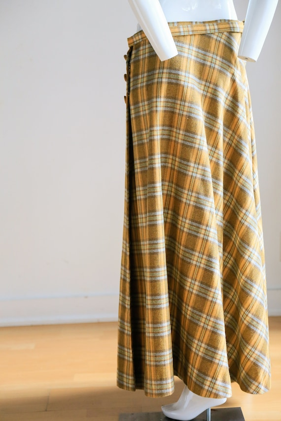 Plaid Wool A-line Maxi Wrap Skir   Plaid Boho Max… - image 9