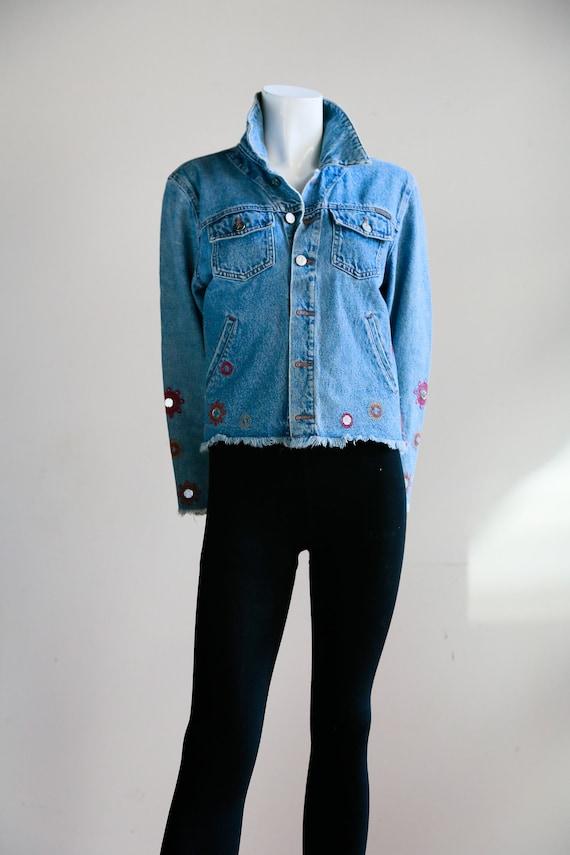 Schnittkante bestickt Calvin Klein ausgefranste Jeansjacke   90er Jahre Calvin Klein Jeansjacke   Festival Jeansjacke   Retro Calvin Klein