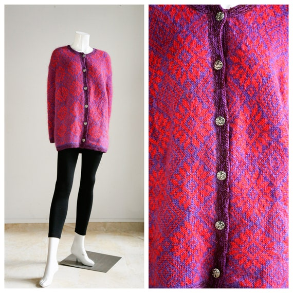 Vintage Mohair Fair Isle  Cardigan  | Purple Pink