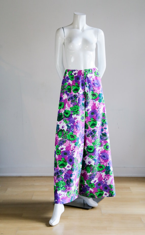 70s Wild Flower Power Purple and Bright Green Wid… - image 2