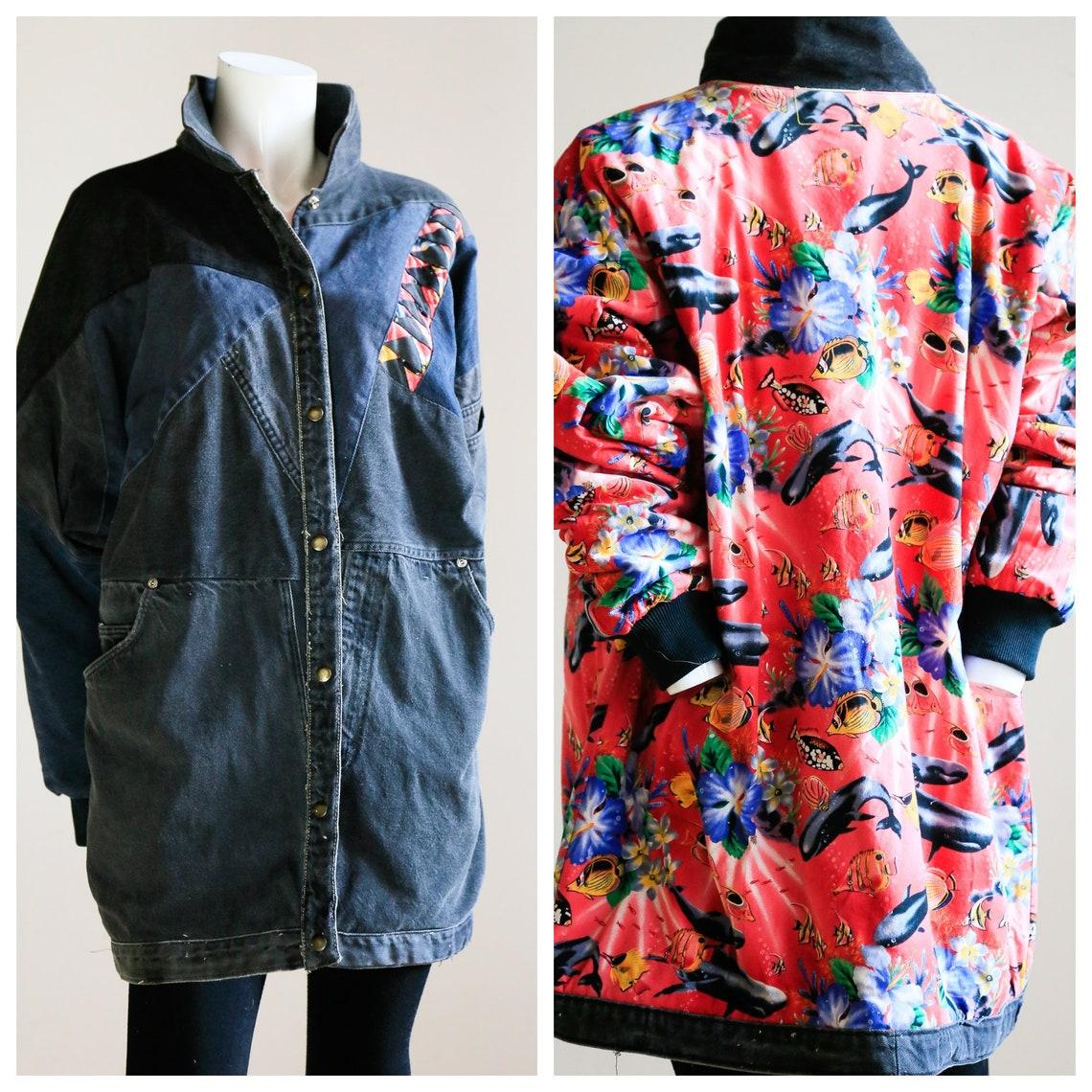 Reversible Deconstructed Denim Jacket | Reworked Pink Fish Print Lining Black Patchwork Ooak
