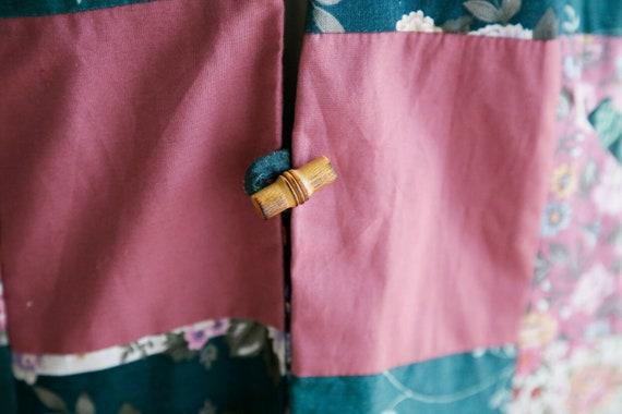 Vintage Cottagecore Patchwork Pink Teal Floral Re… - image 9