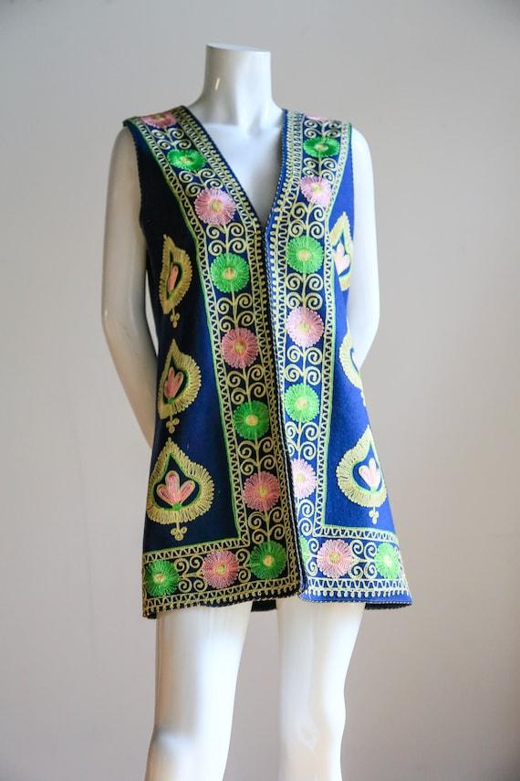 Boho Vest l Embroidered Vest | Wool Embroidered ve