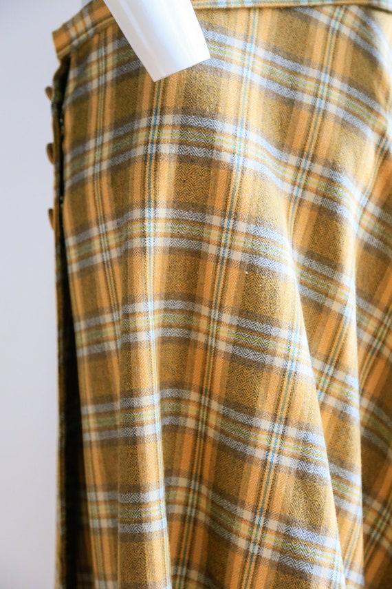 Plaid Wool A-line Maxi Wrap Skir   Plaid Boho Max… - image 10