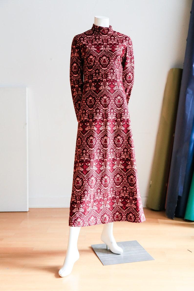 4f28ab5b4fff 70s Print Midi Dress Pink Paisley Dress Turtleneck Dress