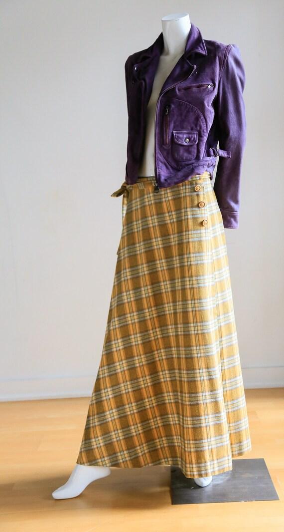 Plaid Wool A-line Maxi Wrap Skir   Plaid Boho Max… - image 4