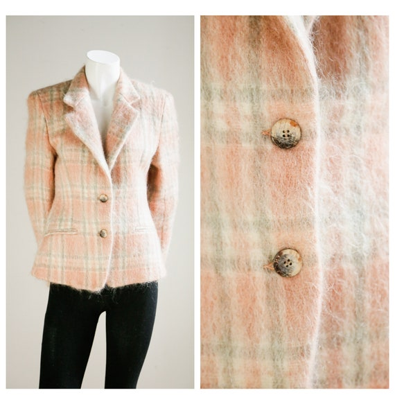 Pink Plaid Mohair Fitted Blazer | Vintage Mohair B