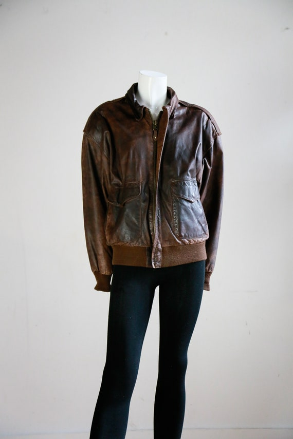Leather Aviator Flight Jacket | Vintage Pilot Jac… - image 3